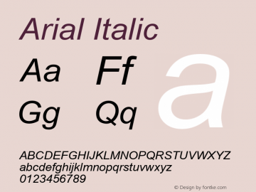 Arial Italic Version 2.91 Font Sample