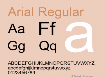 Arial Regular Version 3.01 Font Sample