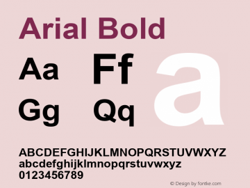 Arial Bold Version 3.01 Font Sample