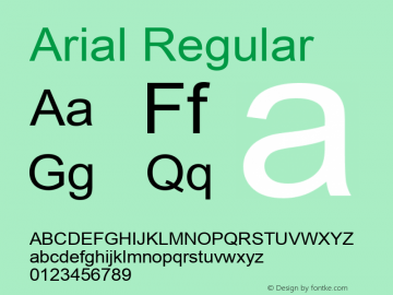 Arial Regular Version 2.60 Font Sample