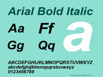 Arial Bold Italic Version 2.60 Font Sample