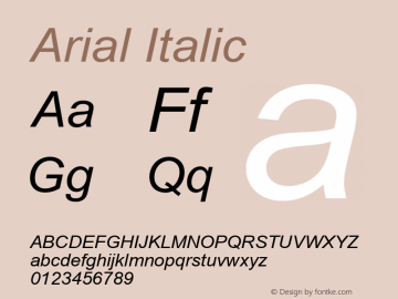 Arial Italic Version 5.08 Font Sample