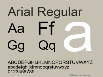 Arial Regular Version 5.10 Font Sample