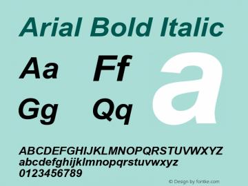 Arial Bold Italic Version 5.70 Font Sample
