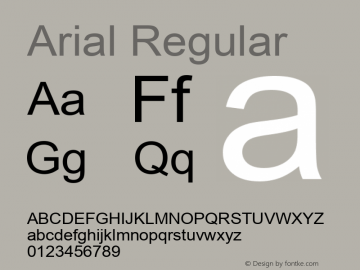 Arial Regular Version 5.70 Font Sample