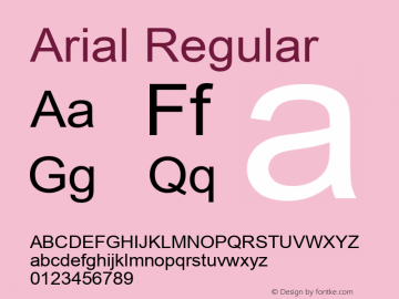 Arial Regular Version 5.73 Font Sample