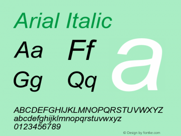 Arial Italic Version 5.73 Font Sample