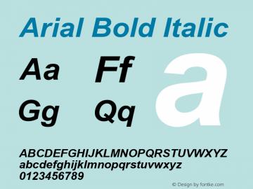 Arial Bold Italic Version 6.80 Font Sample