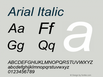 Arial Italic Version 6.80 Font Sample