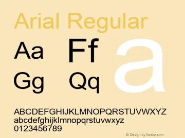 Arial Regular Version 6.81 Font Sample