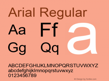 Arial Regular Version 6.70 Font Sample