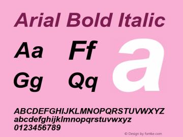Arial Bold Italic Version 6.70 Font Sample