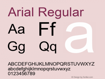 Arial Regular Version 5.20 Font Sample