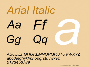 Arial Italic Version 5.20 Font Sample