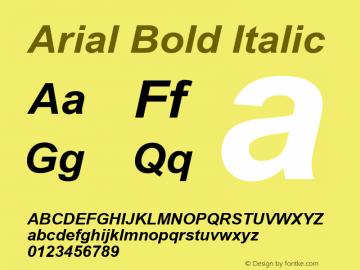 Arial Bold Italic Version 5.20 Font Sample