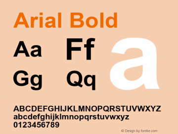 Arial Bold Version 5.20 Font Sample