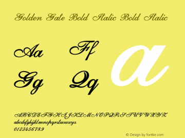 Golden Gate Bold Italic Bold Italic Version 1.000图片样张