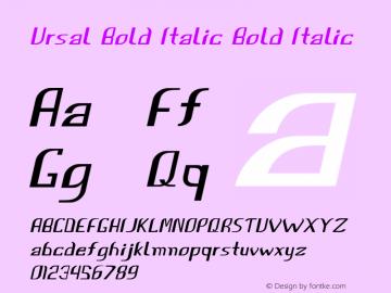 Ursal Bold Italic Bold Italic Version 1.000图片样张