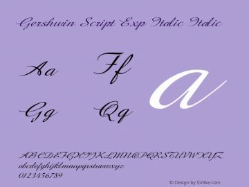 Gershwin Script Exp Italic Italic Version 1.000图片样张