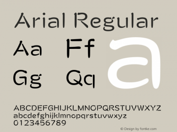 Arial Regular Version 5.01.2x Font Sample