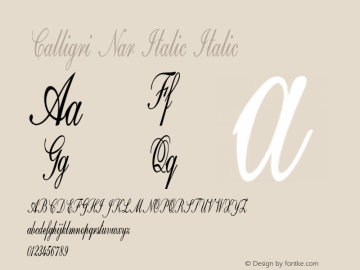 Calligri Nar Italic Italic Version 1.500图片样张