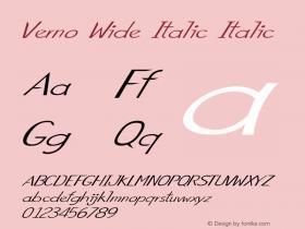 Verno Wide Italic Italic Version 1.000图片样张