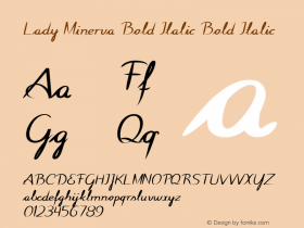 Lady Minerva Bold Italic Bold Italic Version 1.000图片样张