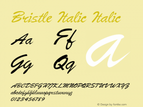 Bristle Italic Italic Version 1.500图片样张