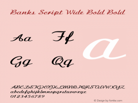 Banks Script Wide Bold Bold Version 1.000图片样张