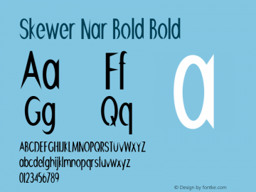 Skewer Nar Bold Bold Version 1.000图片样张