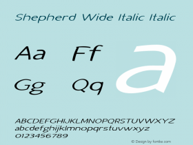 Shepherd Wide Italic Italic Version 1.000图片样张