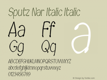 Sputz Nar Italic Italic Version 1.000图片样张