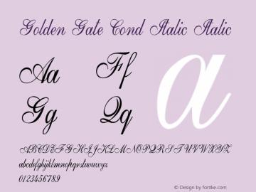 Golden Gate Cond Italic Italic Version 1.000图片样张