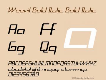 Weevil Bold Italic Bold Italic Version 1.000图片样张