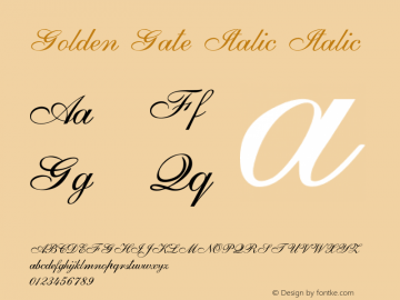 Golden Gate Italic Italic Version 1.000图片样张