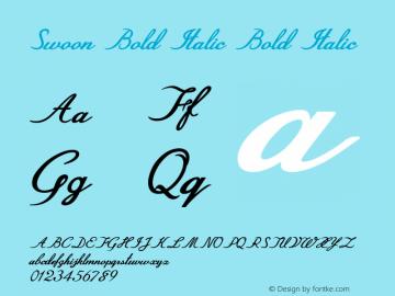 Swoon Bold Italic Bold Italic Version 1.000图片样张