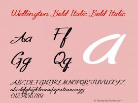 Wellington Bold Italic Bold Italic Version 1.000图片样张