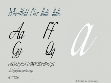 Wheatfield Nar Italic Italic Version 1.000图片样张