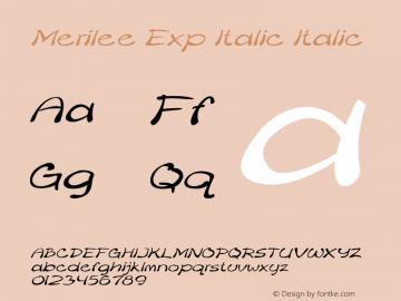 Merilee Exp Italic Italic Version 1.500图片样张