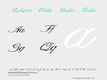Stylique Wide Italic Italic Version 1.000图片样张