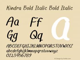 Kindra Bold Italic Bold Italic Version 1.000图片样张