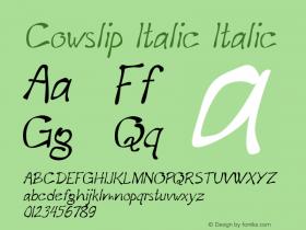 Cowslip Italic Italic Version 1.000图片样张