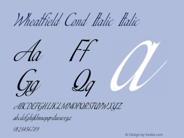 Wheatfield Cond Italic Italic Version 1.000图片样张