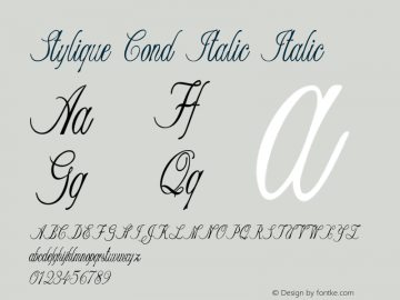 Stylique Cond Italic Italic Version 1.000图片样张