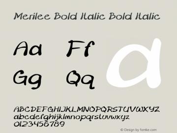 Merilee Bold Italic Bold Italic Version 1.500图片样张
