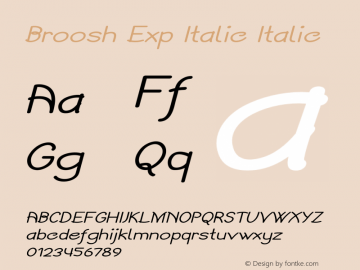 Broosh Exp Italic Italic Version 1.000图片样张