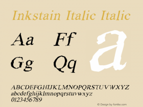 Inkstain Italic Italic Version 1.000图片样张
