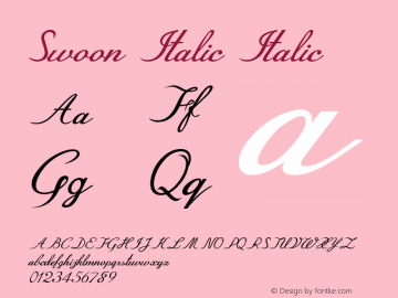 Swoon Italic Italic Version 1.000图片样张