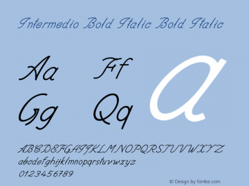 Intermedio Bold Italic Bold Italic Version 1.000图片样张