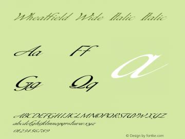 Wheatfield Wide Italic Italic Version 1.000图片样张